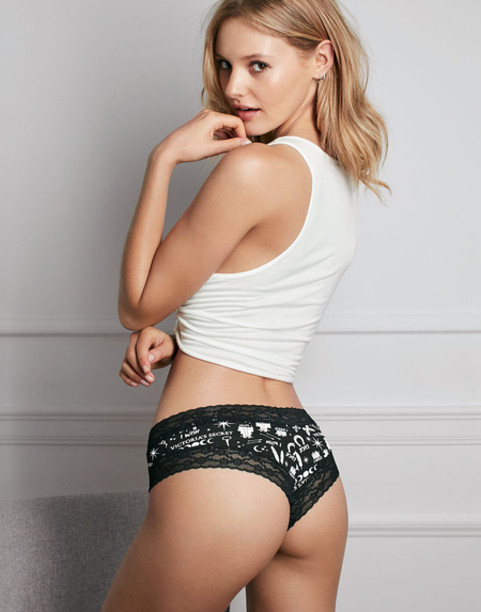 Чики хлопковые Victoria's secret Lace-waist Cheeky Panty New Year collection